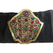 Edwardian Filigree Quilled Wire Stones Buckle Satin Belt