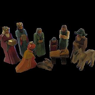 Nativity Creche Ten Pieces Hand Carved Wood Primitive