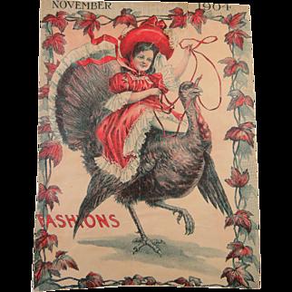 Happy Girl Riding A Turkey Illustration 1904 Oh My