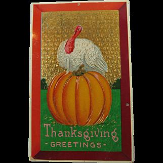 Glitzy Thanksgiving Turkey Pumpkin Postcard 1913