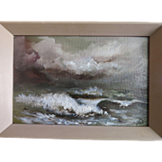Seascape Oil On Board Original Mid 20th Century