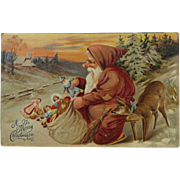 Jolly Ole Elf Sack Full Of Toys Post Card