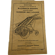 McCormick-Deering Windrow Hay Loader Instructions 1920