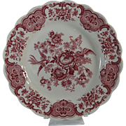 Transferware Staffordshire Ridgway Dinner Plate Red