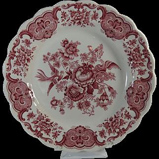 Transferware Staffordshire Ridgway Dinner Plate Red