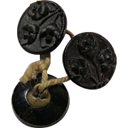 Three Glass Victorian Era Black Buttons