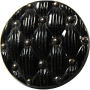 19th C. Black Glass Button Quilt Motif
