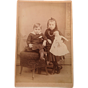 Cabinet Card Photograph Two Children And A Doll