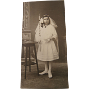 Antique Confirmation Beautiful Girl Photograph