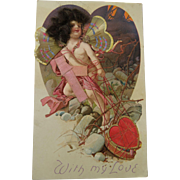 Cupid Post Card Gossamer Wings Real Hair