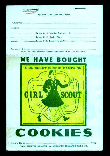 girl scout cookie sale window sticker pad maine tique
