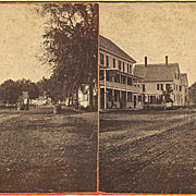 Bingham, Maine Stereoview Stage House Street Scene