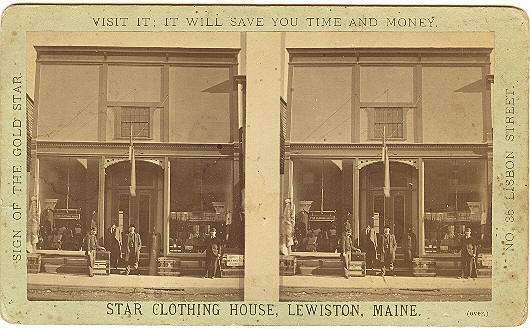 lewiston maine stereoview star clothing store front close up from mainetique on ruby lane. Black Bedroom Furniture Sets. Home Design Ideas