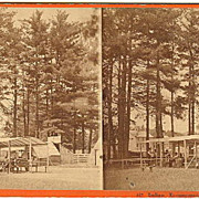 Saratoga Springs, New York Stereoview Indian Encampment