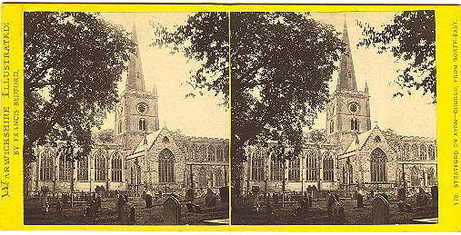 Early Stratford on Avon, Warwickshire, England Church Stereoview by Bedford