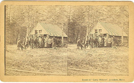 Jonesboro, Maine Camp Webster Log Cabin Stereoview by Lane