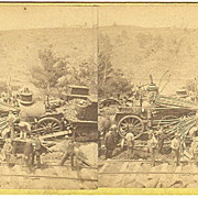 Vassalboro, Maine 1882 Train Wreck Stereoview by Bailey