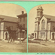 "Portland, Maine Stereoview Old ""New Jerusalem Temple"" on High Street"