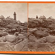 Matinicus Island, Maine Lighthouse Stereoview by Allen*