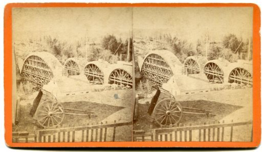 Boston, Massachusetts area Stereoview Sudbury River Conduit Construction