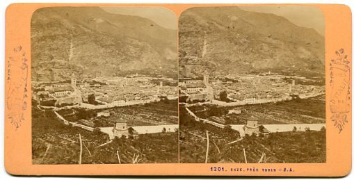 Suza, Italy Panorama Stereoview by J.A.