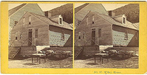 Early Crawford Notch, New Hampshire Willey House Stereoview by Kilburn Bros