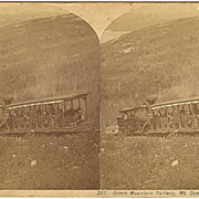 Mt Desert, Maine Green Mountain Railway Train Stereoview by Bradley*