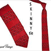 "1960's Brocade Skinny Tie -  2-1/4""  Red, Black & White"