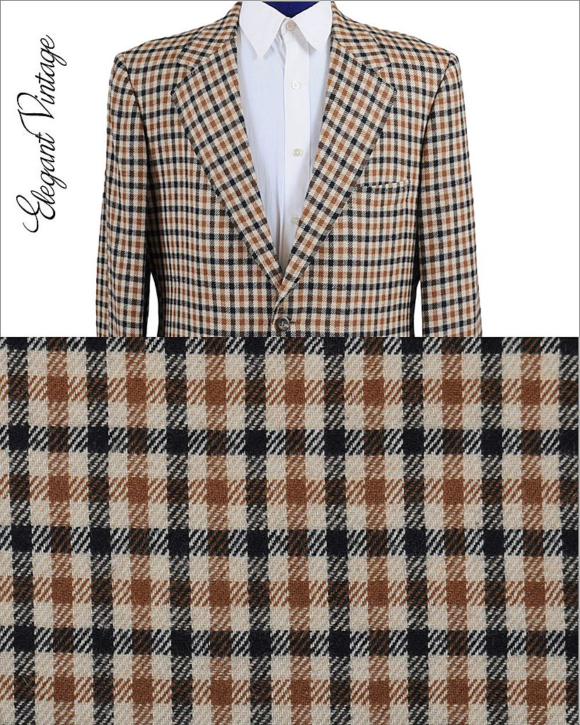60s - 70s Men's Tattersall Check Cashmere Sport Coat *Ritners, The Breakers *42 -43L