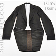 Antique 1840's - 60's Men's Dress Coat Tailcoat - S