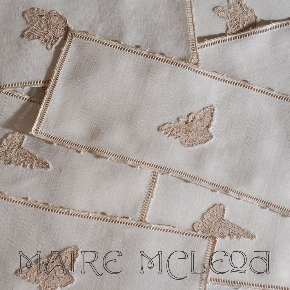 Butterfly Needlelace Vintage Cocktail Napkins - 7