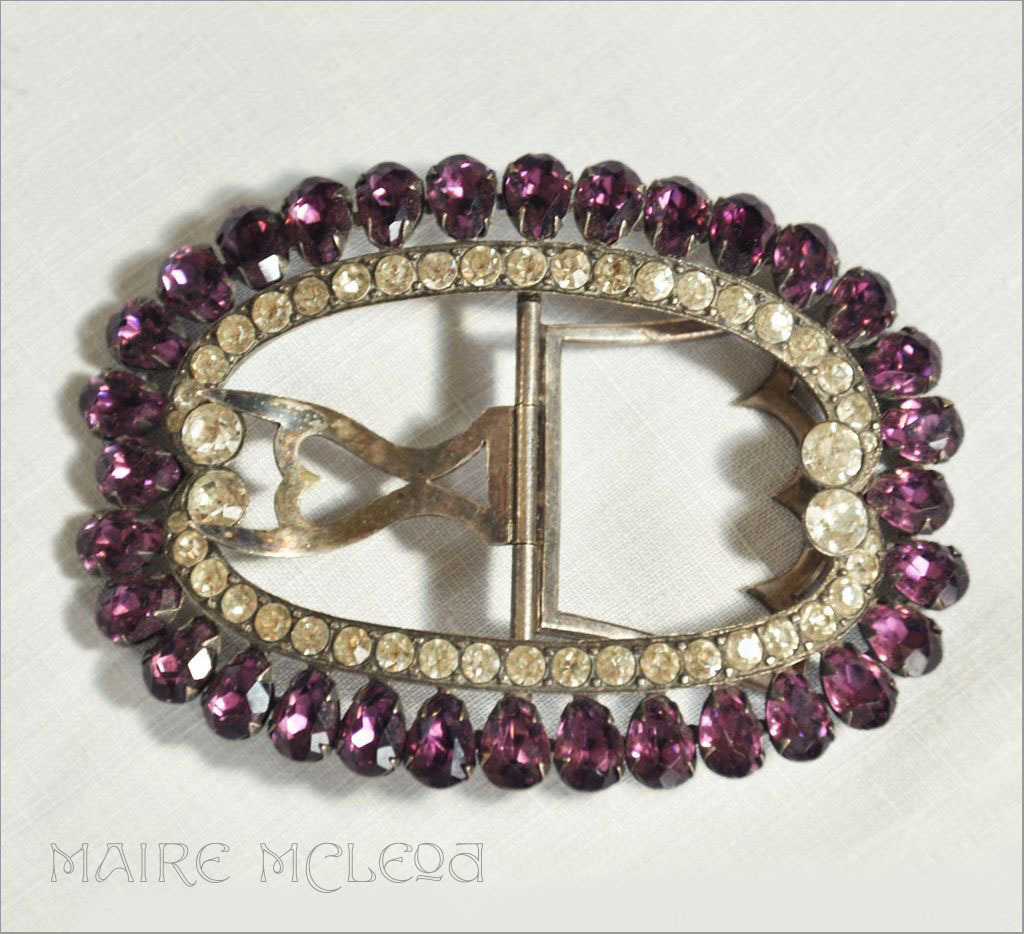 Antique Georgian  Purple & Clear Paste Silver Shoe Buckle
