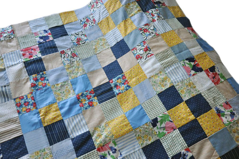 Vintage Patchwork Quilt Top - Child Crib Size - Yellows / Blues ... : antique patchwork quilts - Adamdwight.com