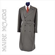 Vntg 1960's Men's Gabardine Military Trench Coat Overcoat   43 - 44