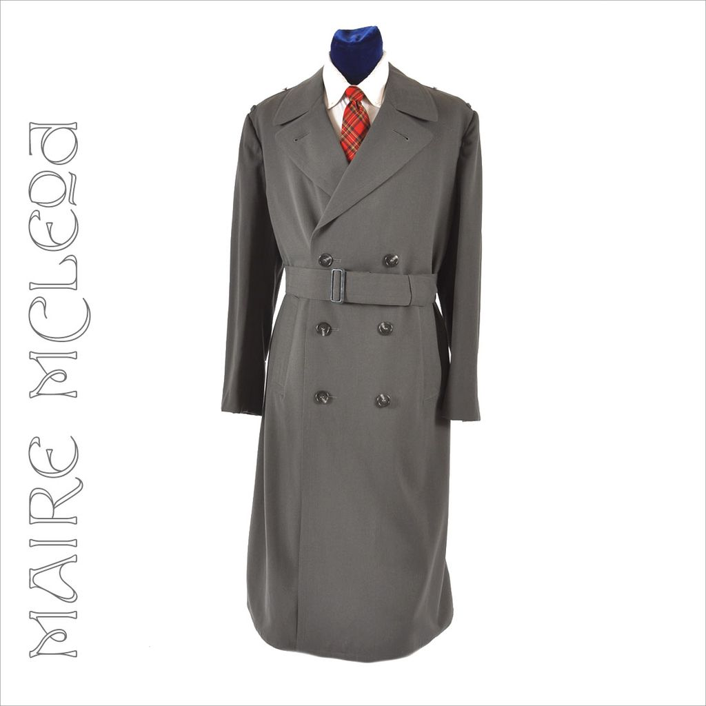 Vntg 1960's Men's Gabardine Military Trench Coat Overcoat 43 - 44 ...