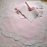 Finest Vintage Madeira Pink Placemats / Naps Embroidered/Applique