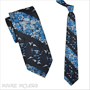 Pheasants, Flowers Don Roper Men's 1970's  Tie  - 4""