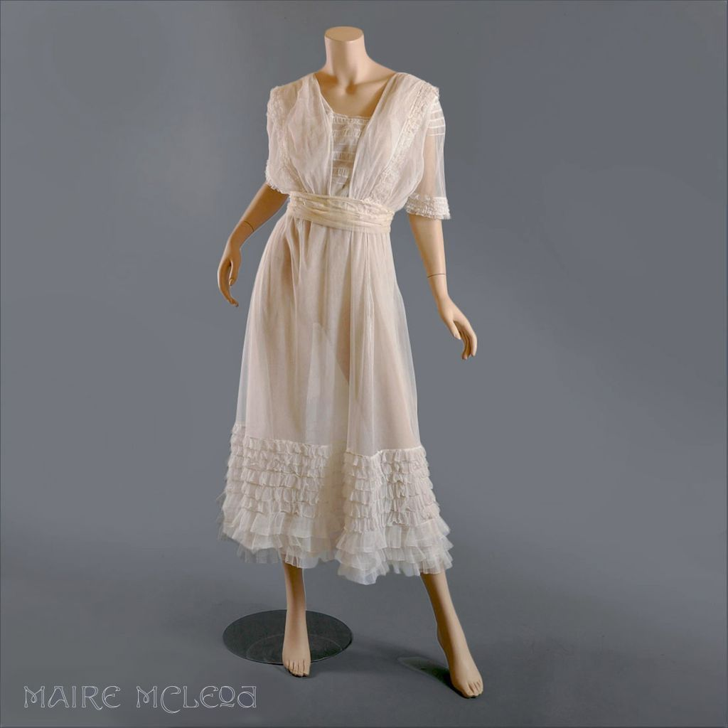 Tea Gown: C 1910 Edwardian Tiered Net Lace Tea Dress Gown SOLD On