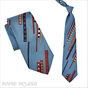 1970's Tie // Vintage 70s Men's Abstract Design Tie - Beau Brummell  4""
