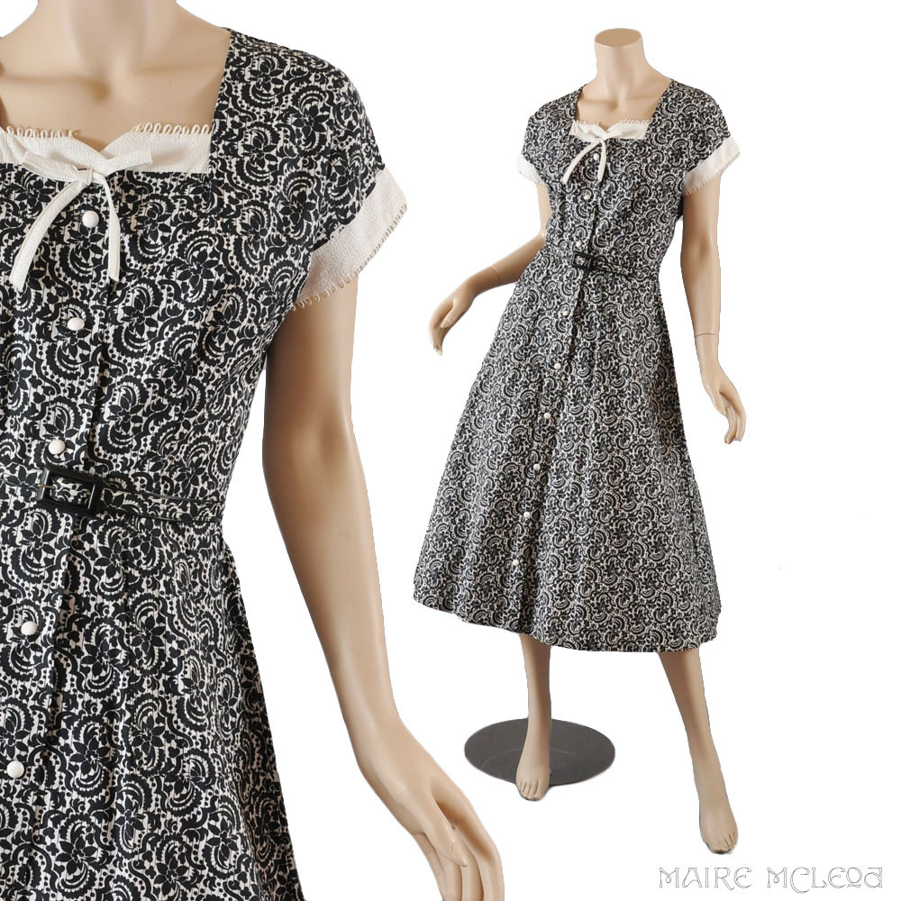Vintage 1950's Day Dress - Black, White - Never Worn S / M from ...