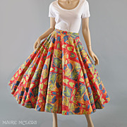 1950s Vibrant Leaves Circle Skirt - S / M