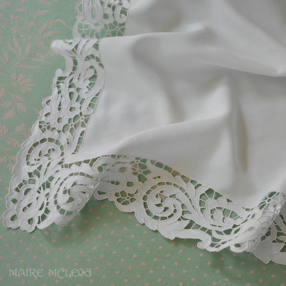 Vintage fine linen ornate cutwork teacloth layover sham 32 for Glass cut work designs