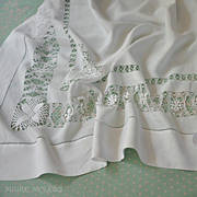 Ornate DrawnWork, Embroidered Linen Tablecloth Teacloth 51 x 51""