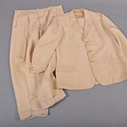 Vintage 1930s Ivory Silk Faille Mens Suit  44-46L
