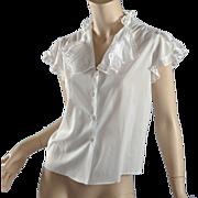 1940s -50s Fine Cotton Blouse w/ Ruffle Sleeve S