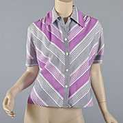Vintage 1940s -50s Stripe Blouse-Fab Colors S/M