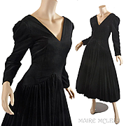 Vintage 1980s Bruce Oldfield Black Velvet Gown Dress - Very Princess Diana