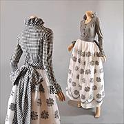 Designer 1960s Adolfo Organza Maxi Skirt & Blouse  - Gingham, Silver S