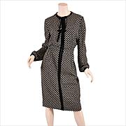 Valentino Crepe Dress 1970s - Velvet Trim M / ML