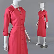 Vintage 1950s New Look Dress - Raspberry Lt Wt Gabardine S / M